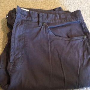 Men's dark grey brushed denim trousers.